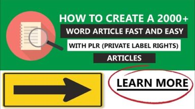 How to Create A 2000+ Word Article Fast And Easy With PLR (Private Label Rights) Articles