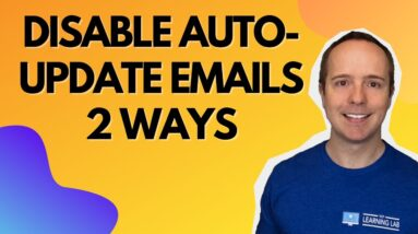 Disable Wordpress Update Emails - How To Disable Plugin Update Notification in WordPress